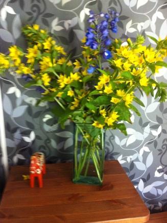 gelb, blau typisch schwedisch schmücken Blumen unser Haus