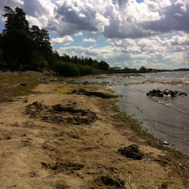 Links von mir Strand, mit der Burg versteckt im Wald ..