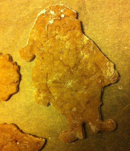ein Weihnachtsmann aus knusprigem Pfefferkuchenteig